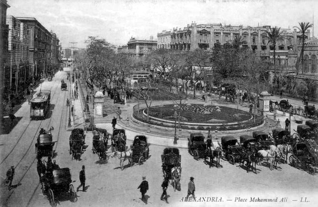 Place Mohammed Ali, Alexandria, pictured in a postcard from the period that 'Abdu'l-Baha stayed in the Egyptian city. Today the square is known as Midan Tahrir.