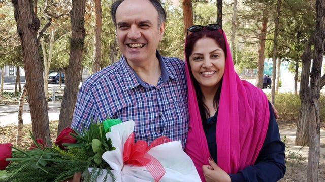 Vahid Tizfahm and his wife, Furuzandeh Nikumanesh, reunited after his 10 year imprisonment