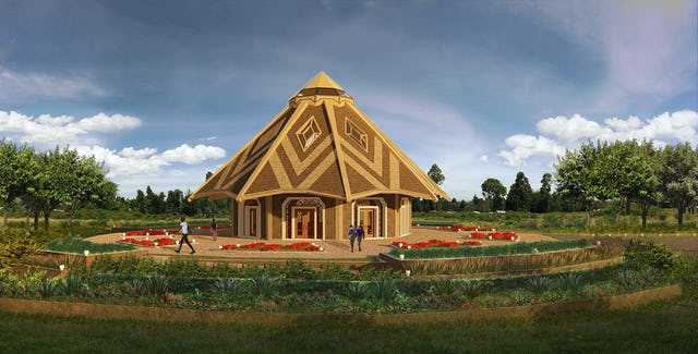 Ce modèle montre le projet du temple du Kenya, commencé aujourd'hui à Matunda, au Kenya.