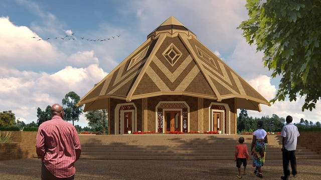 An illustrative rendering of the House of Worship is simple yet striking in form, inspired by the huts traditional to Matunda Soy.