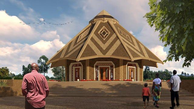 Representación ilustrativa de la Casa de Adoración simple pero llamativa en la forma, inspirada en las chozas tradicionales de Matunda Soy.
