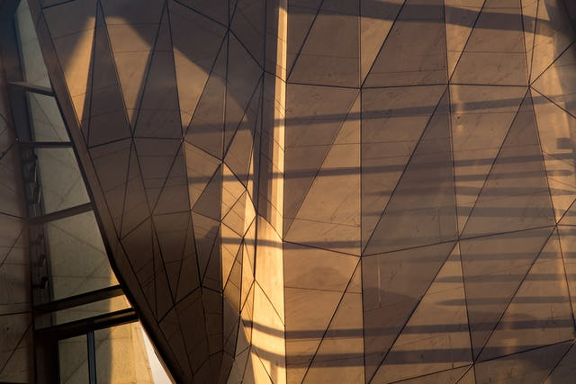 Marble interior surface of the nine panels of the continental Baha'i House of Worship of South America