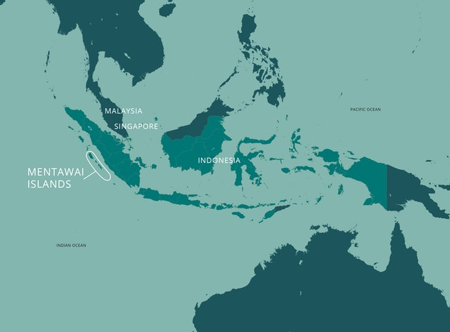 The Mentawai Islands are a group of 70 islands and islets west of the coast of the larger Indonesian island of Sumatra.