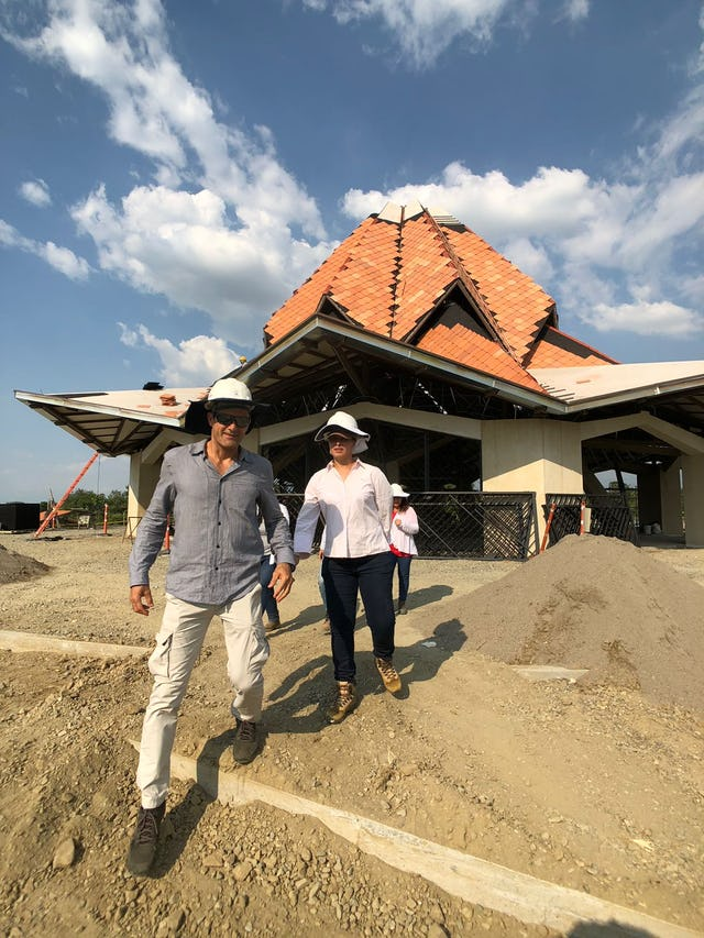Temple architect Julian Gutierrez Chacón visits the site of the House of Worship in Norte del Cauca to assess the progress of the construction.
