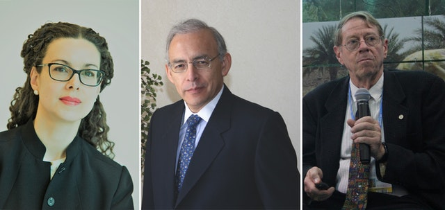 (From left) Maja Groff, Augusto Lopez-Claros, and Arthur Dahl were the authors of an award-winning proposal to reshape global governance structures.