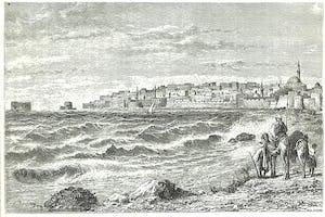 """Dessin d'un livre publié dans les années 1880 représentant Acre depuis une plage à l'ouest de la ville. La porte de la mer est près du bord gauche de la digue. (Source : W.M. Thompson, """"The Land and the Book"""")"""