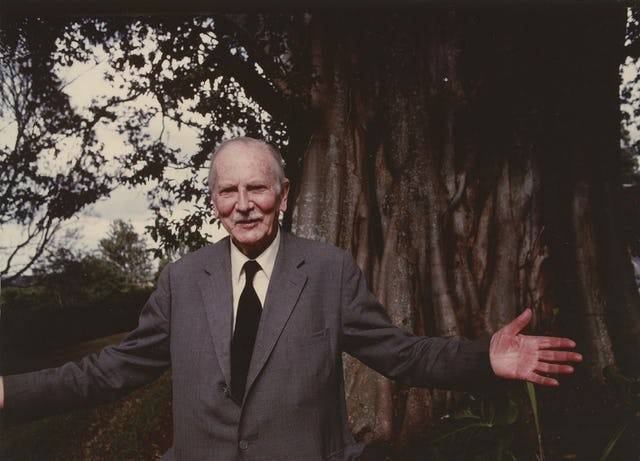 This 1976 photo shows Richard St. Barbe Baker in front of a tree in Nairobi, Kenya.