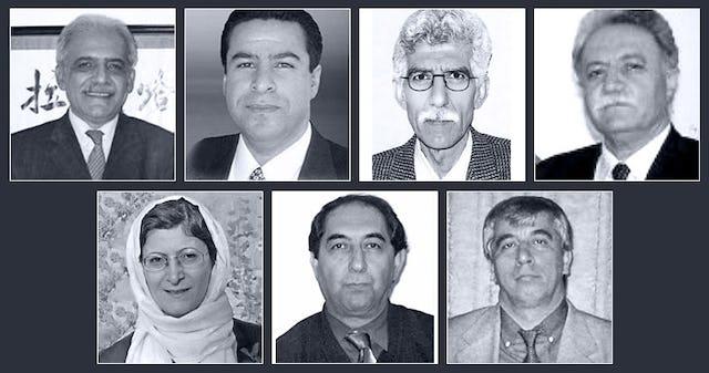 The seven imprisoned Baha'i educators are (top row, left to right): Mahmoud Badavam, Ramin Zibaie, Riaz Sobhani, Farhad Sedghi; (bottom row, left to right) Noushin Khadem, Kamran Mortezaie, and Vahid Mahmoudi.