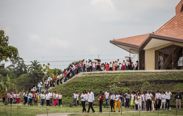 Participants in the inauguration gathering Sunday file out of the Baha'i House of Worship in Norte del Cauca, Colombia, after praying inside for the first time.