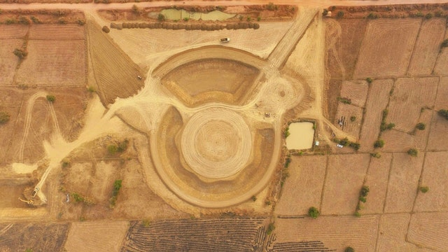 Earthworks were recently completed on the temple site in Battambang, Cambodia.