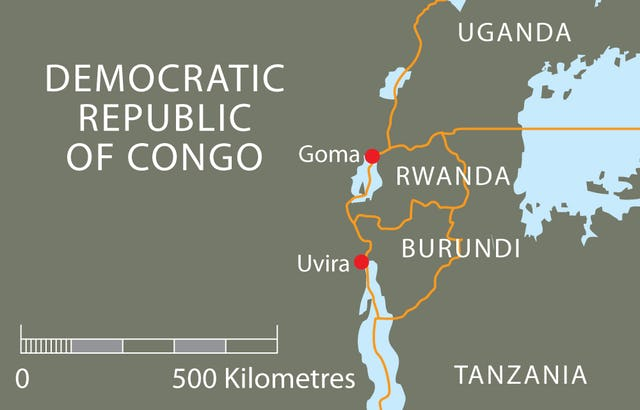 Uvira is only about 200 kilometers south of Goma, the capital of North Kivu province where much of the current unrest in the Democratic Republic of the Congo is centered.