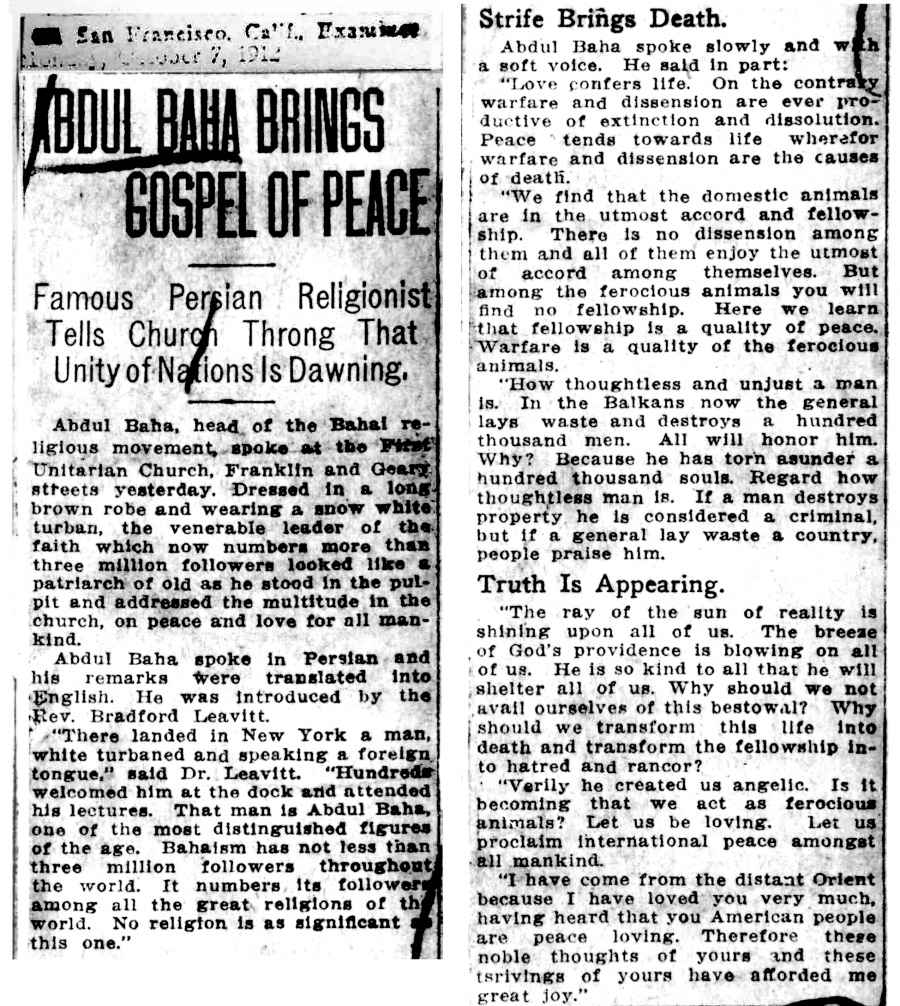 Remembering 'Abdu'l-Baha's call for unity, a century after World War