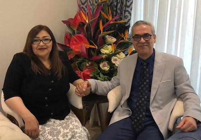 Afif Naeimi et sa femme à Téhéran plus tôt dans la journée