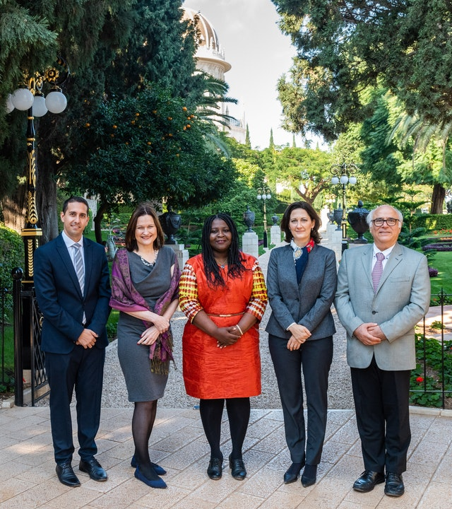 The members of the board of directors of the Baha'i International Development Organization were appointed for a five-year term beginning in November. The directors are (from left) Sina Rahmanian, Lori McLaughlin Noguchi, Maame Brodwemaba Nketsiah, Elisa Caney, and George Soraya. They recently held their first board meeting at the Baha'i World Centre.
