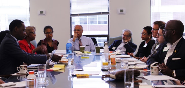 Participants consult in a Faith and Race Dialogue in September. The United States Baha'i Office of Public Affairs organizes the gatherings to explore the role faith plays in overcoming ingrained prejudice and structural injustice in the country.
