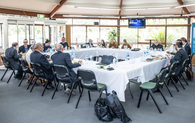 Participants in the September 2017 Religious Leaders Forum prepare for their discussion on social cohesion, hosted on the grounds of the Baha'i House of Worship in Sydney. The Baha'i community has participated in these forums for several years.