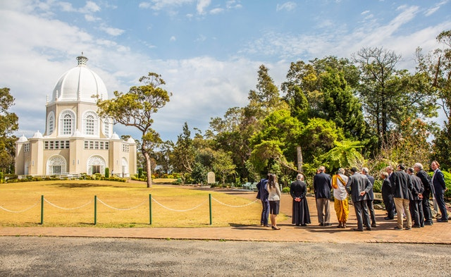 Participants in the New South Wales Religious Leaders Forum held in September 2017 gather outside the Baha'i House of Worship in Sydney.