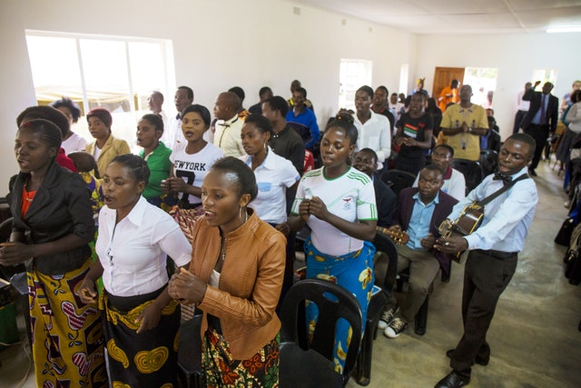 A Baha'i choir sings during the dedication ceremony of the new facilities at the Eric Manton Baha'i Institute in Mwinilunga, Zambia, on 22 February.