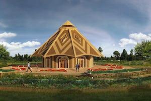 Une illustration de la maison d'adoration locale de Matunda Soy, au Kenya, a été dévoilée aujourd'hui.