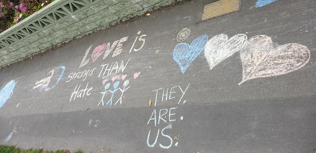 This photo shows some of the hopeful and loving messages in the street art.