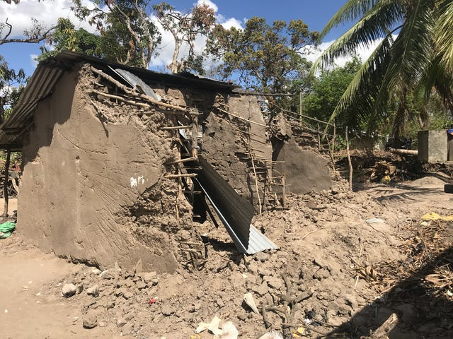 This home was among the many destroyed when the rain softened the dry mud and melted it off the stick structure.
