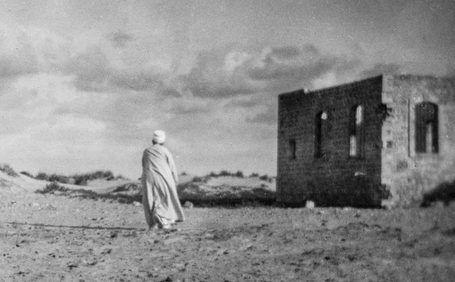 This photo shows 'Abdu'l-Baha in the Holy Land in 1920. In his article, Mr. Hanley describes how 'Abdu'l-Baha stimulated sustainable farming practices in the village of 'Adasiyyih, a few kilometers southeast of the Sea of Galilee in present-day Jordan.