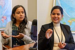 Bhavna Anbarasan (izquierda) y Pooja Tiwari, ambas de Nueva Delhi, hablaron con el Bahá'í World News Service sobre un grupo de mujeres jóvenes que organizaron una campaña de sensibilización para compartir una comprensión científica y espiritual de la menstruación.