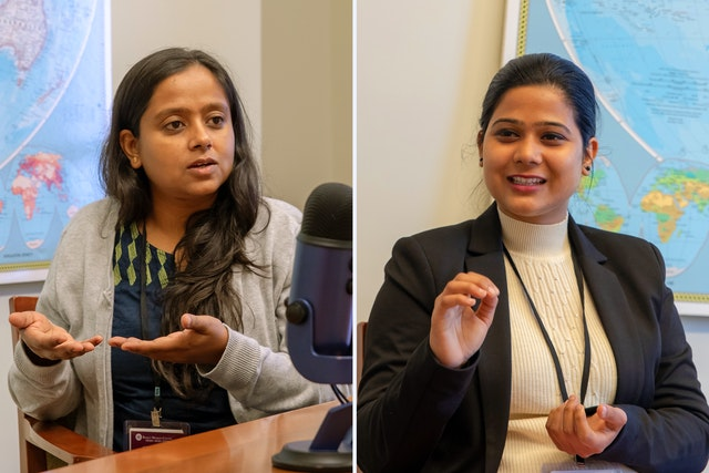 Bhavna Anbarasan (left) and Pooja Tiwari, both from New Delhi, spoke with the Baha'i World News Service about a group of young women who organized an awareness campaign to share both a scientific and spiritual understanding of menstruation.