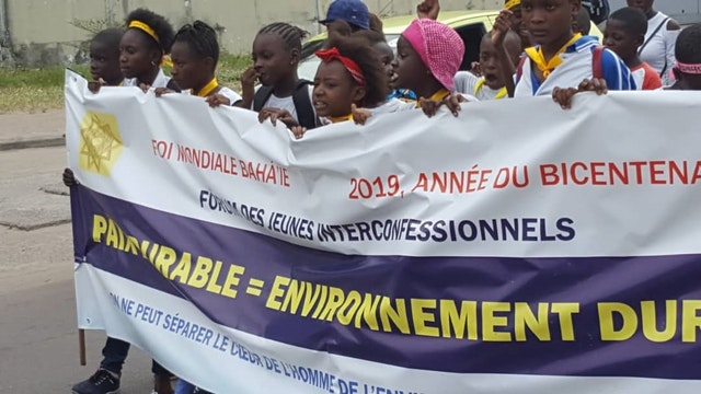 Hundreds of people attended an interfaith march in Kinshasa last month.