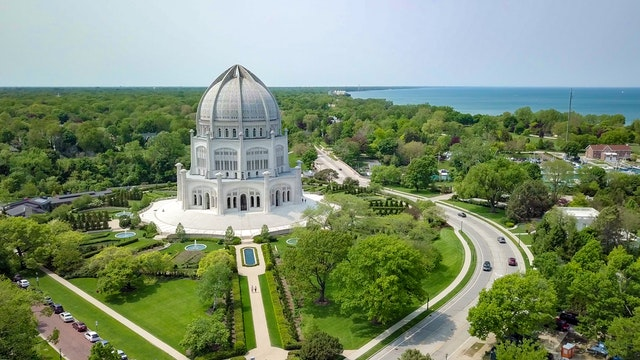 The oldest of all 10 Baha'i Houses of Worship, the Temple in Wilmette, Illinois, United States, opened in 1953.