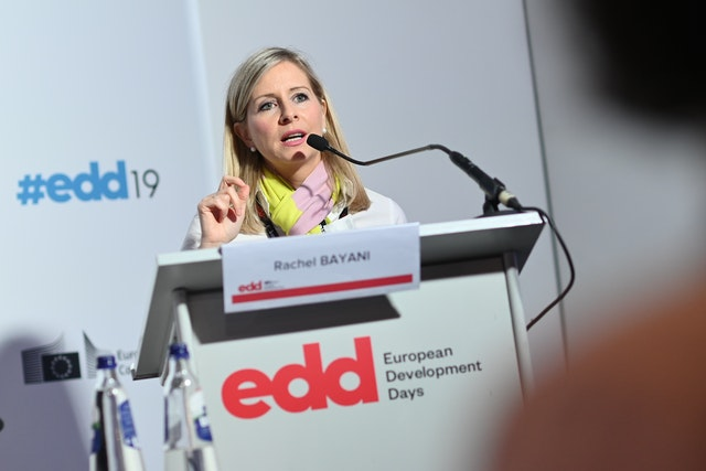 """Rachel Bayani, the Representative of the Brussels Office of the Baha'i International Community moderated the discussed titled, """"What's religion got to do with it?"""". (Credit: EDD Brussels)"""