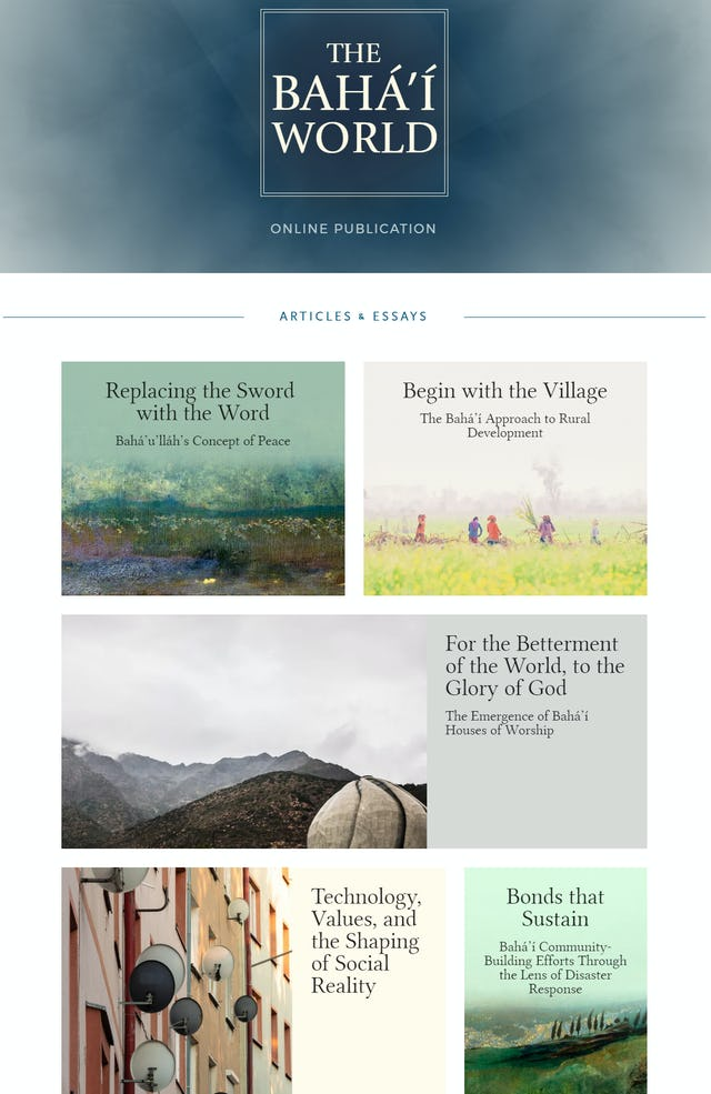 A new official Baha'i website makes available thoughtful essays and articles on contemporary issues and developments.