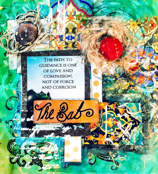 This collage art from the United Arab Emirates was inspired by the teachings of the Bab.