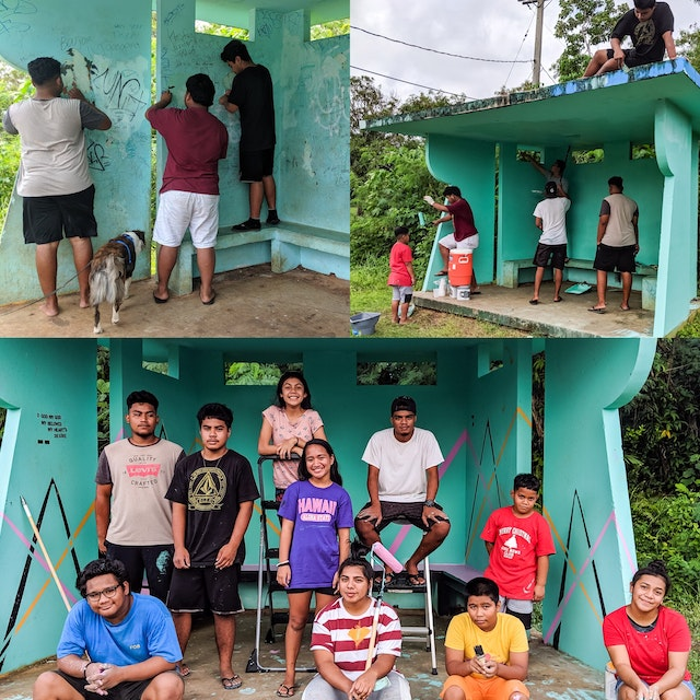 Youth in the Mariana Islands decided to beautify their community in preparation for the bicentenary of the birth of the Bab and began by cleaning up and painting a local bus stop. They were inspired to undertake this service project by their participation in devotional gatherings.