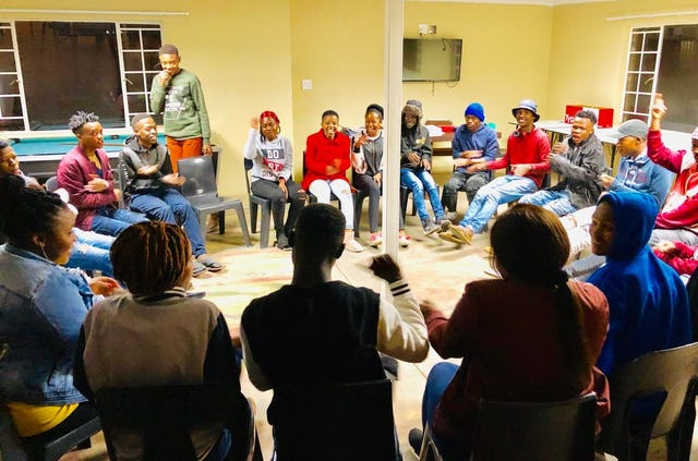 Youth in Emalahleni, South Africa, participate in a special gathering to reflect on their role in society. Several hundred young people have been participating in such gatherings throughout the country.