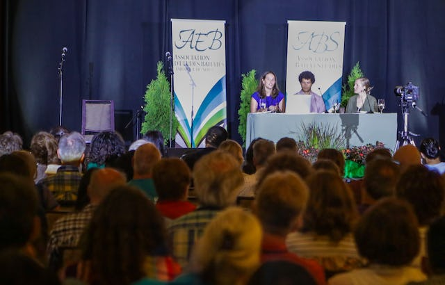 (From left) Esther Maloney, Kyle Schmalenberg, and Amelia Tyson speak on a panel about the media during the 43rd annual conference of the Association for Baha'i Studies in Ottawa, Ontario, Canada. (Credit: Monib Sabet)