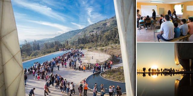 Un quartier de Los Ángeles, au Chili (en haut à droite) s'est concentré sur l'éducation spirituelle et le service à la société au cours des six derniers mois précédant le bicentenaire. La maison d'adoration de Santiago, au Chili, attire des visiteurs des localités environnantes, désireux de prier et de méditer dans cet espace sacré.