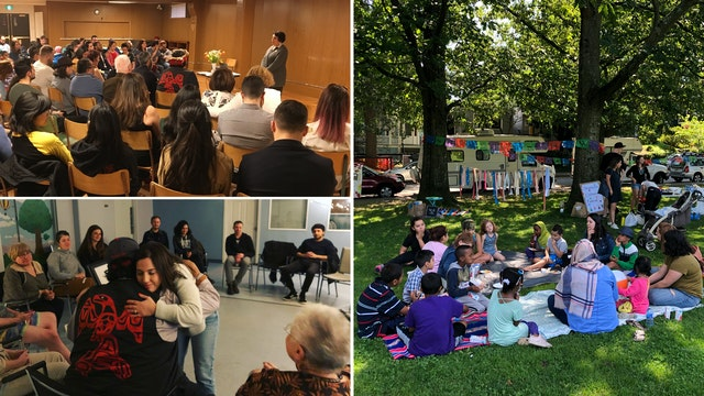 In a diverse neighborhood of Vancouver, Canada, residents are intensifying their community building efforts in the lead-up to the bicentenary. The photos on the left show community gatherings in the neighborhood, and the photo on the right shows a recent children's festival that brought together local families.