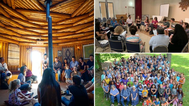 Communities through the United States have been preparing for the upcoming bicentenary. These photos (clockwise from left) show a devotional gathering inside the Prayer Hogan at the Native American Baha'i Institute in the Navajo Nation, a special gathering in Dallas, and the participants in the Indiana Baha'i Summer School. These gatherings are among many happening as part of an increase in community building efforts before the October celebrations.