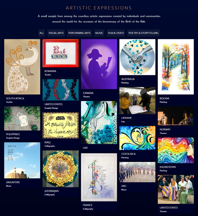 El sitio web del bicentenario ofrece una pequeña muestra de entre las numerosas expresiones artísticas creadas por individuos y comunidades de todo el mundo.