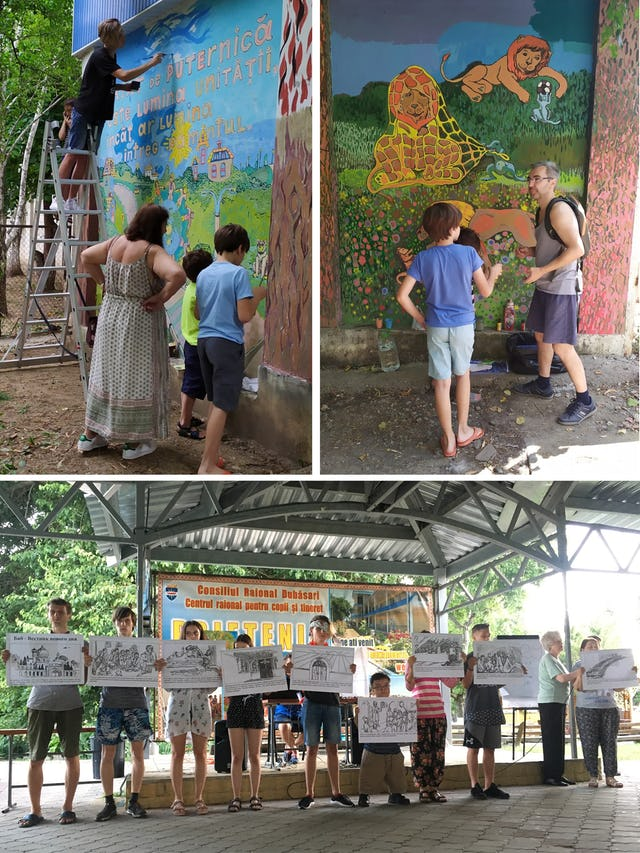 """(Top) To beautify their neighborhood, young people in Chisinau, Moldova, were assisted by a local artist in painting a mural that includes this passage from the Baha'i Writings: """"So powerful is the light of unity that it can illuminate the whole earth."""" (Bottom) Young people at a community gathering also performed scenes from the life of the Bab."""