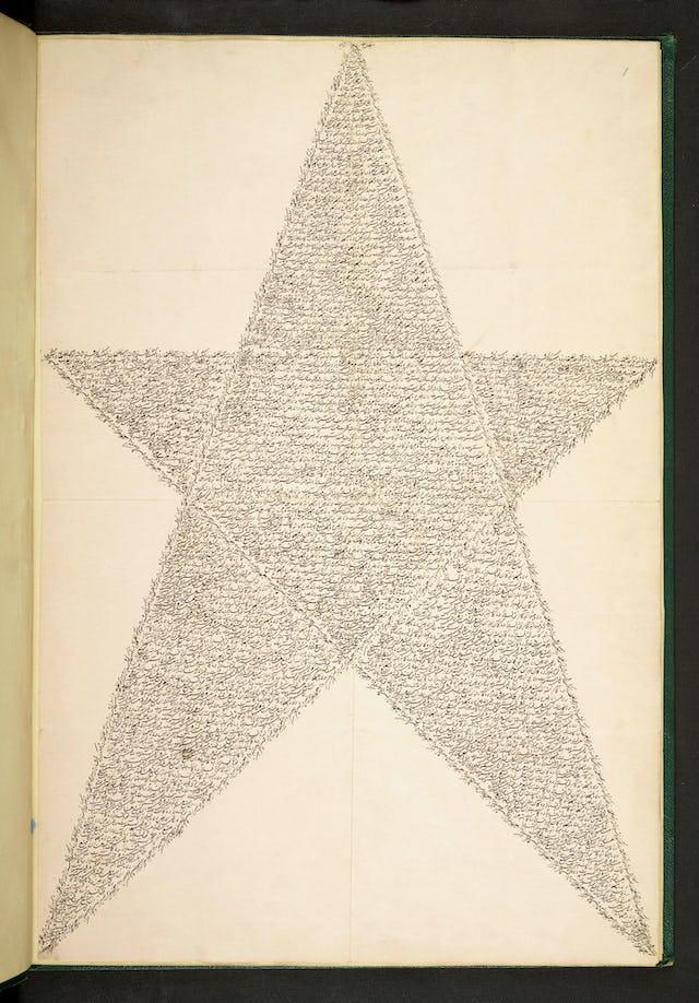 Esta tabla del Báb, un original de Su propio puño y letra, está expuesta en la Biblioteca Británica.