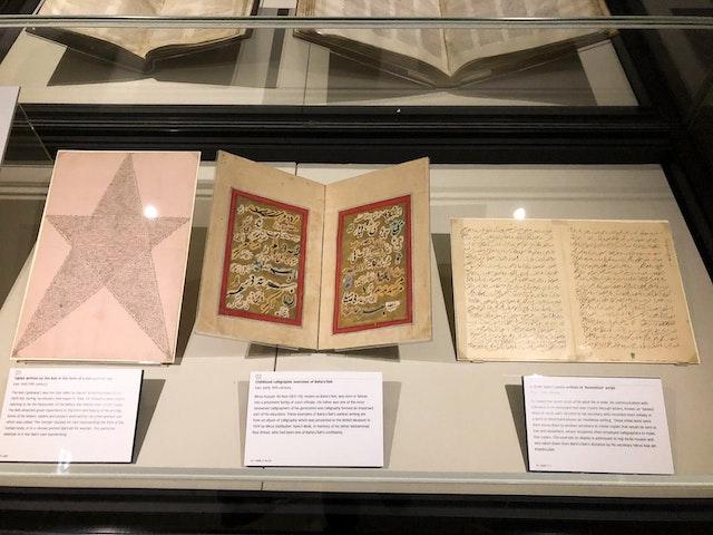 Original works of the Bab and Baha'u'llah on display at the British Library.