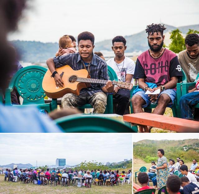 Sur le site du futur temple de Port Moresby, en Papouasie-Nouvelle-Guinée, la communauté s'est réunie pour prier lors d'une fête nationale récente et les jeunes ont parlé de la vie du Báb et du prochain bicentenaire.