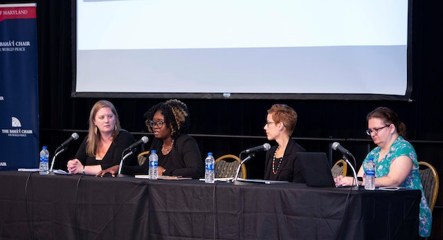 During one of the panel discussions, Brandy Thomas Wells, a historian from Oklahoma State University, speaks about the contributions of African-American women to 20th century and present-day peace movements.