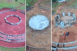 Aerial images of the construction progress over time