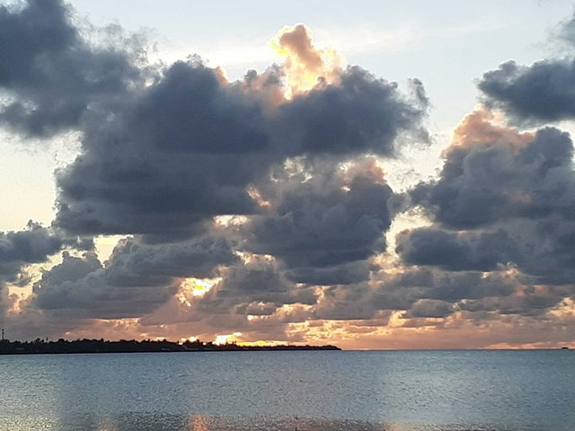 This evening's sunset from the Line Islands in Kiribati