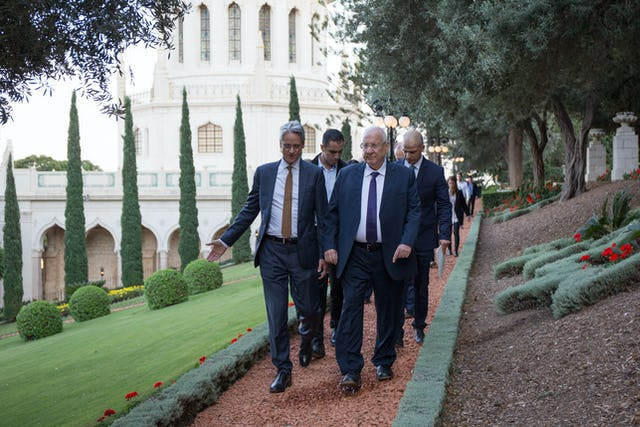 During his visit to the Baha'i World Centre, President of Israel Reuven Rivlin joined Dr. David Rutstein, Secretary-General of the Baha'i International Community, on a visit to the Shrine of the Bab and a walk through the surrounding gardens.