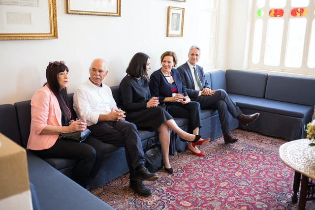 A reception for local leaders and dignitaries in the Haifa and Akka areas was held on Friday. Haifa Mayor Einat Kalisch-Rotem (second from the right) talks with Carmel Irandoust (center) from the Baha'i International Community in Haifa.