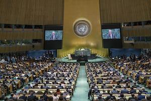 António Guterres, le secrétaire général des Nations unies, s'adressant à l'Assemblée générale lors d'une récente session. (Crédit photo NU/ Cia Pk)